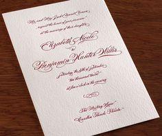 burgues Letterpress Wedding Invitation
