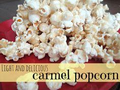 Light and delicious caramel popcorn on MyRecipeMagic.com #snack