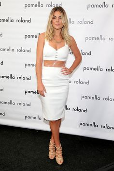 Serinda Swan gorgeous in white mini dress and strappy high heels at Pamella Roland fashion event