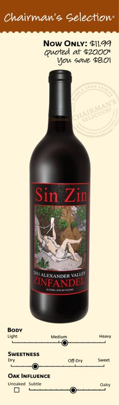 """Alexander Valley Vineyards Sin Zin 2011: """"Dark ruby black color. Aromas and flavors of baked cherries, toffee, peppercorn, and honeycomb with a supple, dry-yet-fruity medium-to-full body and a chewy, nut and roasted apple and citrus accented finish. A nice dry, claret-style zin that shines at the table."""" *90 Points (Exceptional) Beverage Tasting Institute, September 6, 2013. $11.99"""