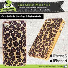 Capa de Celular Luxo Onça Brilho Texturizada Iphone 4/4s - 5/5g você não pode ficar de fora. Não perca tempo, poucas unidades. http://pandalizando.com.br/capas-celular