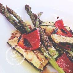 Simple barbecued vegetable salad with lemon juice  parmesan dressing GF