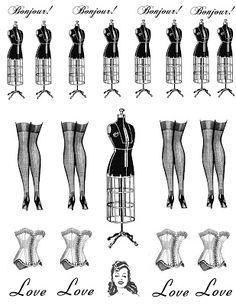 **FREE ViNTaGE DiGiTaL STaMPS**: Dress Form