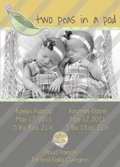 Twin Birth Announcement - yellow, green, & gray ♥