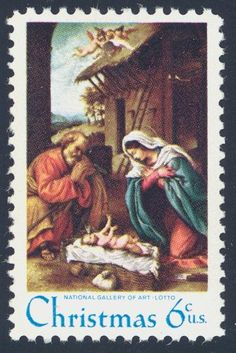 "1970_11_05 Traditional Christmas stamp and features ""The Nativity"" by Lorenzo Lotto (1480-1556). This painting is located in the National Gallery of Art, Washington, D.C."