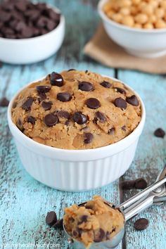 Healthy Eggless Cookie Dough - no-bake cookie dough you can eat with a spoon! It's made from a secret ingredient... garbanzo beans! #glutenf...