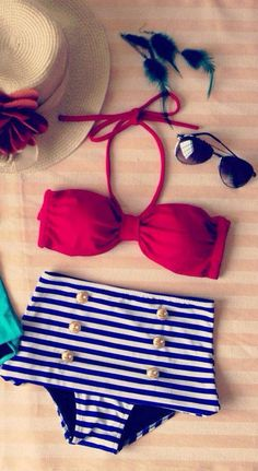 Red and Navy High Waisted Bikini