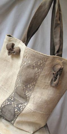burlap and lace bags, the knot, tie bag, sew sue, tone bag