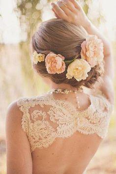 wedding dressses, hair flowers, lace wedding dresses, wedding ideas, bridal hairstyles, the dress, romantic weddings, wedding hairstyles, flower hair