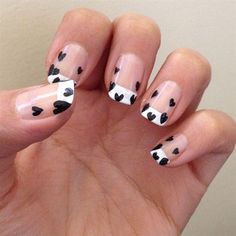 French manicure + hearts // love this!