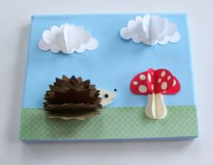 Original Hedgehog and mushroom 3D Paper Wall Art on 8 x 10 Canvas (Not a print) I will try my hand at making this! wall art, hedgehog, 3d paper, kid decor, kid art, nursery art, art kids, paper crafts, kid crafts