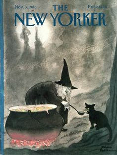 Halloween ~ The New Yorker magazine cover 1986 by, Charles Addams