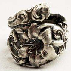 Spoon Ring Vintage Lovely Lily Sterling Silver Spoon by Spoonier..