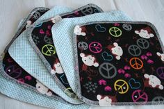 Peace Monkey Flannel Cloth Diaper Wipes 6ct  by LagamorphLounge, $7.50