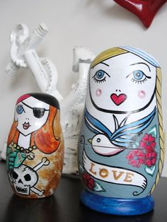 Nautical Russian Dolls SAILOR PIRATE MERMAID Octopus by wengergirl, $57.00