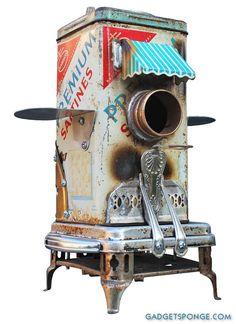 Birdhouse Bird house Art Piece Repurposed Upcycled Custom Clock Edgemont Crackers Tin Film Strongbox Mailbox Doors Metal Recycled OOAK $365...