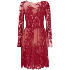 Notte by Marchesa Red lace and tulle dress found on Polyvore