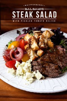 This Balsamic Steak Salad with Pickled Tomato Relish looks amazing! #recipe #steak
