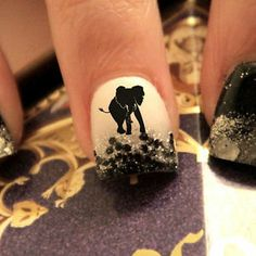 20 Water Slide Nail Decals Elephant Silhouette Africa