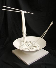 paper sculpture of noodles crafted by Cheong-ah Hwang (papernoodle) http://www.flickr.com/photos/papernoodle/ http://www.papernoodle.com/ #paper_art #sculptures