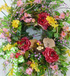 XXL Cabbage Rose Wild Birch Front Door Wreath by LadybugWreaths, $229.97  http://ladybugwreaths.com/doorwreaths/wreaths-for-sale-2/