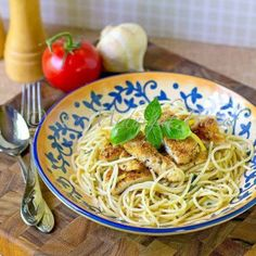 PARMESAN CRUSTED CHICKEN WITH LEMON,BASIL PASTA