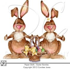 Easter Bunny Paper Dolls - Easter Basket, Easter and Spring Graphics - Very cute for making Easter printables, or Digital Scrapbook Pages.
