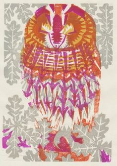 Woodblock print by Matt Underwood: Sleeping tawny owl