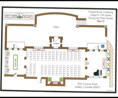 Set up for Fireside Room Ceremony- 150 Guests Location: Boettcher Mansion