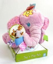 Taggies Tag 'N Play Pals Pink Elephant by Taggies. $35.00. Taggies plush pink mauve plush elephant. Cute Taggies plush elephant