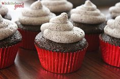 chocolate cupcakes with oreo buttercream frosting.