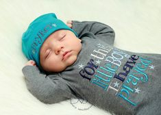 Newborn Baby Gown: Grey Infant Boy Gown, For This Little Boy I Have Prayed, New Baby Shower Gift, Personalized Cotton Beanie Hat on Etsy, $28.00