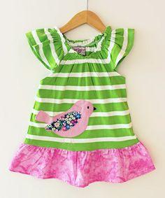Love this Green & Pink Stripe Dove Peasant Dress - Toddler & Girls on #zulily! #zulilyfinds