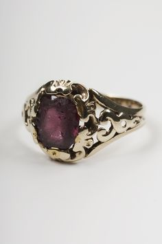 Fanny Brawne's engagement ring, ca 1820. The engagement ring which John Keats gave to Fanny Brawne. Fanny Brawne wore the ring until her death in 1865. The stone is an almandine (a type of garnet), set in a gold openwork scrolled shouldered hoop.