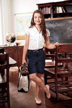 She'll ace style in twill Bermuda #shorts. #backtoschool #schooluniform #Kohls