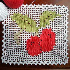 Diseño en filet crochet de cerezas