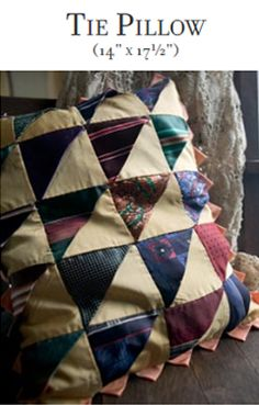 Click here for instructions on how to make those old ties into pillows.