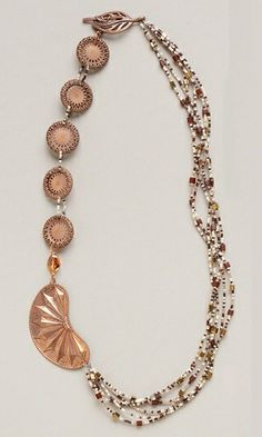 Multi-Strand Necklace with Seed Beads and Copper Components