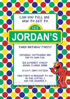 primary colors, birthday parti, polka dots, birthday boys, elmo birthday, birthday invitations, birthday idea, sesam street, parti idea
