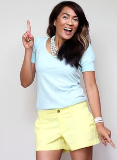 Yellow shorts by Old Navy. Pastels