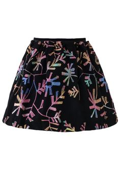 Neon Floral Embroidery Skirt -