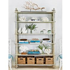 baths, beaches, bookshelf styling, beach houses, shelves, bookcas, blankets, baskets, beach themes