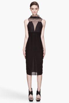 RICK OWENS Black semi-sheer silk Prong Dress
