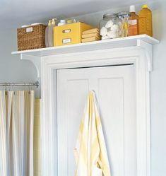 shelf above door - bathroom and laundry room
