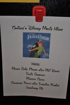 disney movie night ideas... Menu ideas to go with each movie. Great ideas and so fun for kids. I can't wait for movie nights! :D