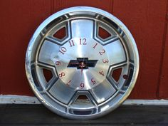 cave idea, cave decor, hubcap clock, man caves, clock man