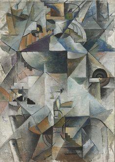 "Samovar, 1913, Kazimir malevich, oil on canvas, 35 x 24 1/2"", Ukraine. MOMA."