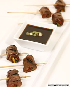 Grilled Beef Rolls with Scallion Soy Dipping Sauce - Martha Stewart Recipes