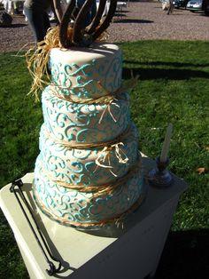 Valentine Street Bakery, Country Wedding Cake, shabby chic, horse shoes, rafia, turquoise, cross, fondant, beautiful, branding irons