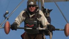 Hang gliding psychiatric service dog takes to the skies ~ Shadow doesn't like to be separated from his owner, so Dan McManus fashioned a special canine harness to his hang glider.